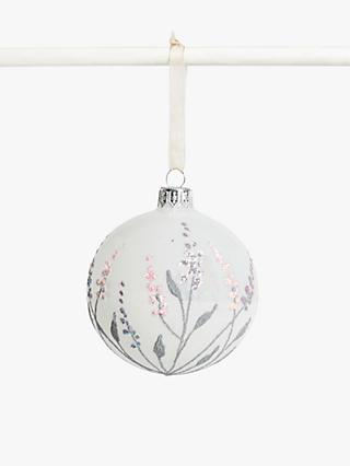 John Lewis & Partners Sanctuary Dot Flower Frosted Bauble, White