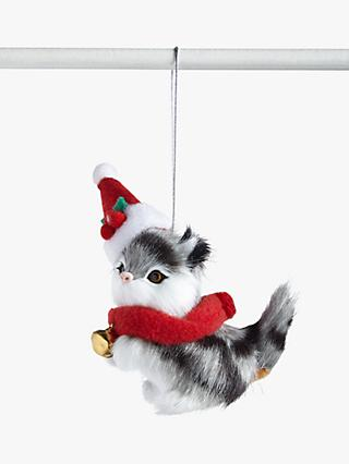 John Lewis & Partners ABC Faux Fur Festive Cat Tree Decoration