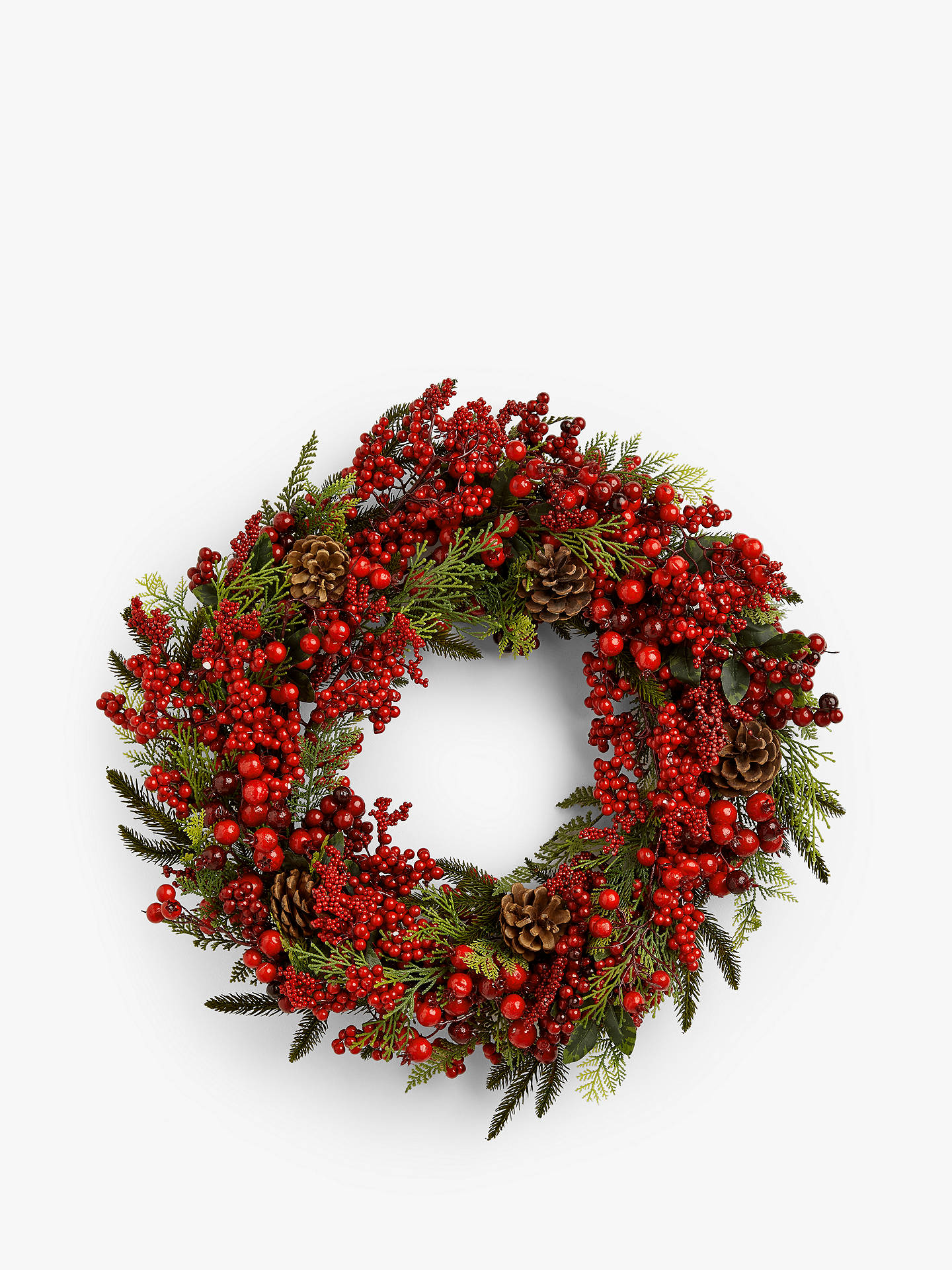 Buy John Lewis & Partners Traditions Berry Wreath with Leaves, Red Online at johnlewis.com