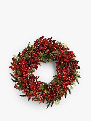 John Lewis & Partners Traditions Berry Wreath with Leaves, Red