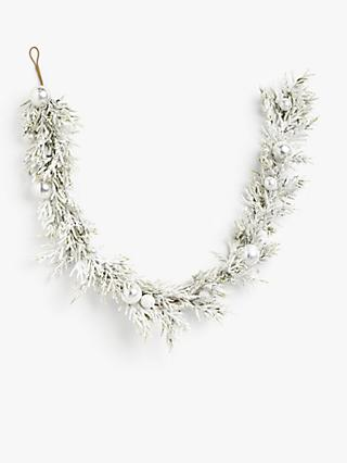John Lewis & Partners Snowscape Bauble Garland, Frosted White, L180cm