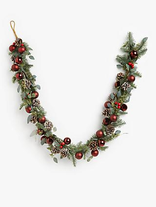 John Lewis & Partners Traditions Bauble Garland, Ruby