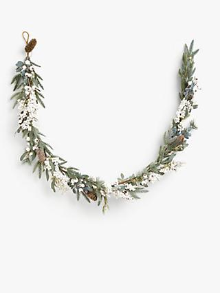 John Lewis & Partners Snowscape Pine Cone and Mistletoe Garland, Green / White, L180cm