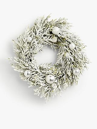 John Lewis & Partners Snowscape Bauble Wreath, Frosted White