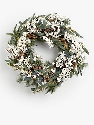 John Lewis & Partners Snowscape Pine Cone and Mistletoe Wreath, Green / White