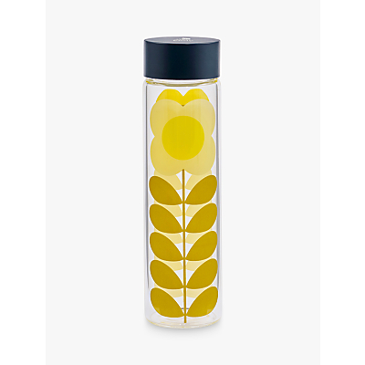 Orla Kiely Daisy Stem Glass Drinks Bottle, 525ml, Yellow/Multi