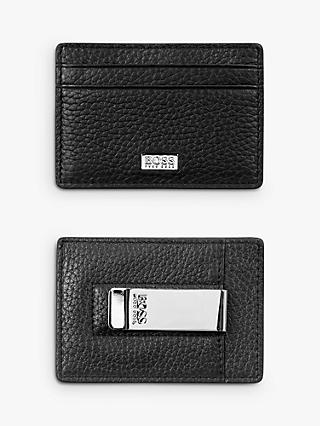 BOSS Crosstown Italian Leather Card Holder with Money Clip, Black