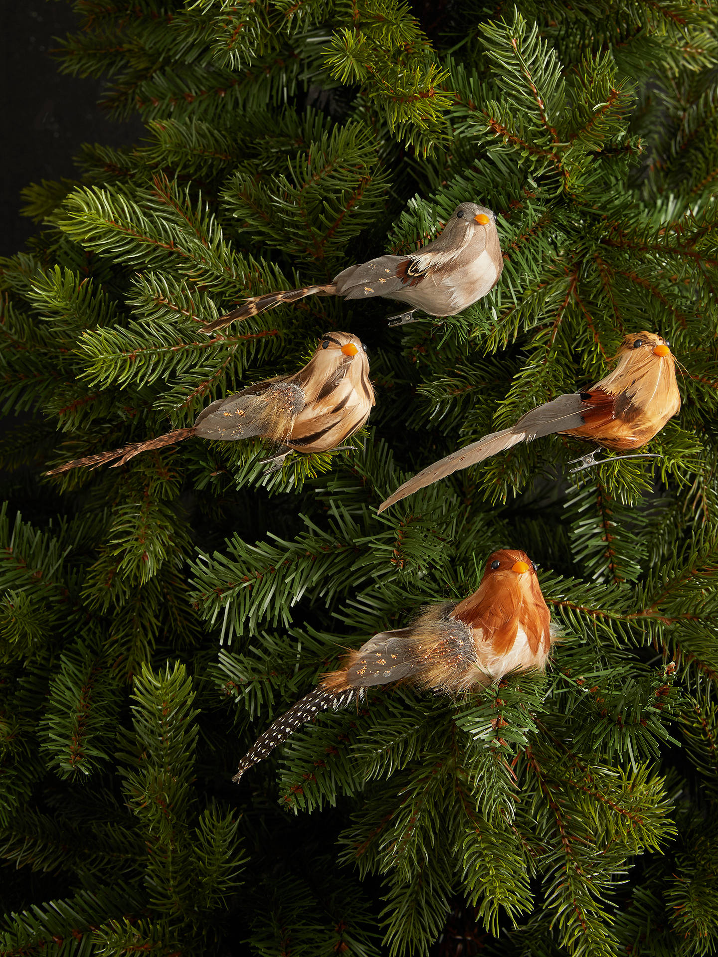 Buy John Lewis & Partners Campfire Woodland Bird Clip On Tree Decoration, Set of 4, Natural Online at johnlewis.com