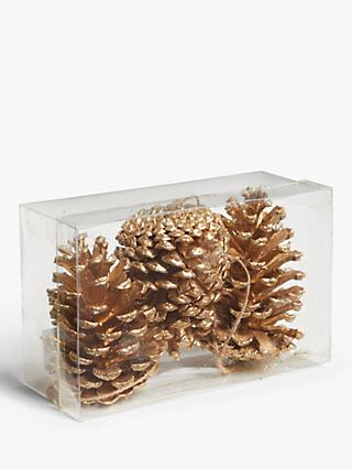 John Lewis & Partners Campfire Pine Cone Tree Decorations, Pack of 3, Gold