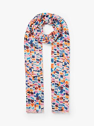 John Lewis & Partners Indira Painted Stripe Cotton Scarf, Multi