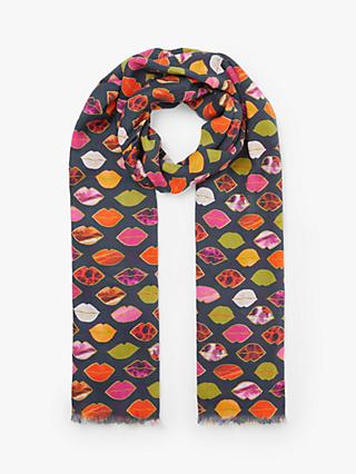 John Lewis & Partners Simone Lips Print Cotton Scarf, Multi
