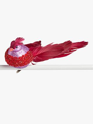 John Lewis & Partners Traditions Glitter Bird Clip On Tree Decoration, Red