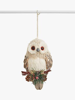 John Lewis & Partners Snowscape Owl with Pine Cone Tree Decoration, White