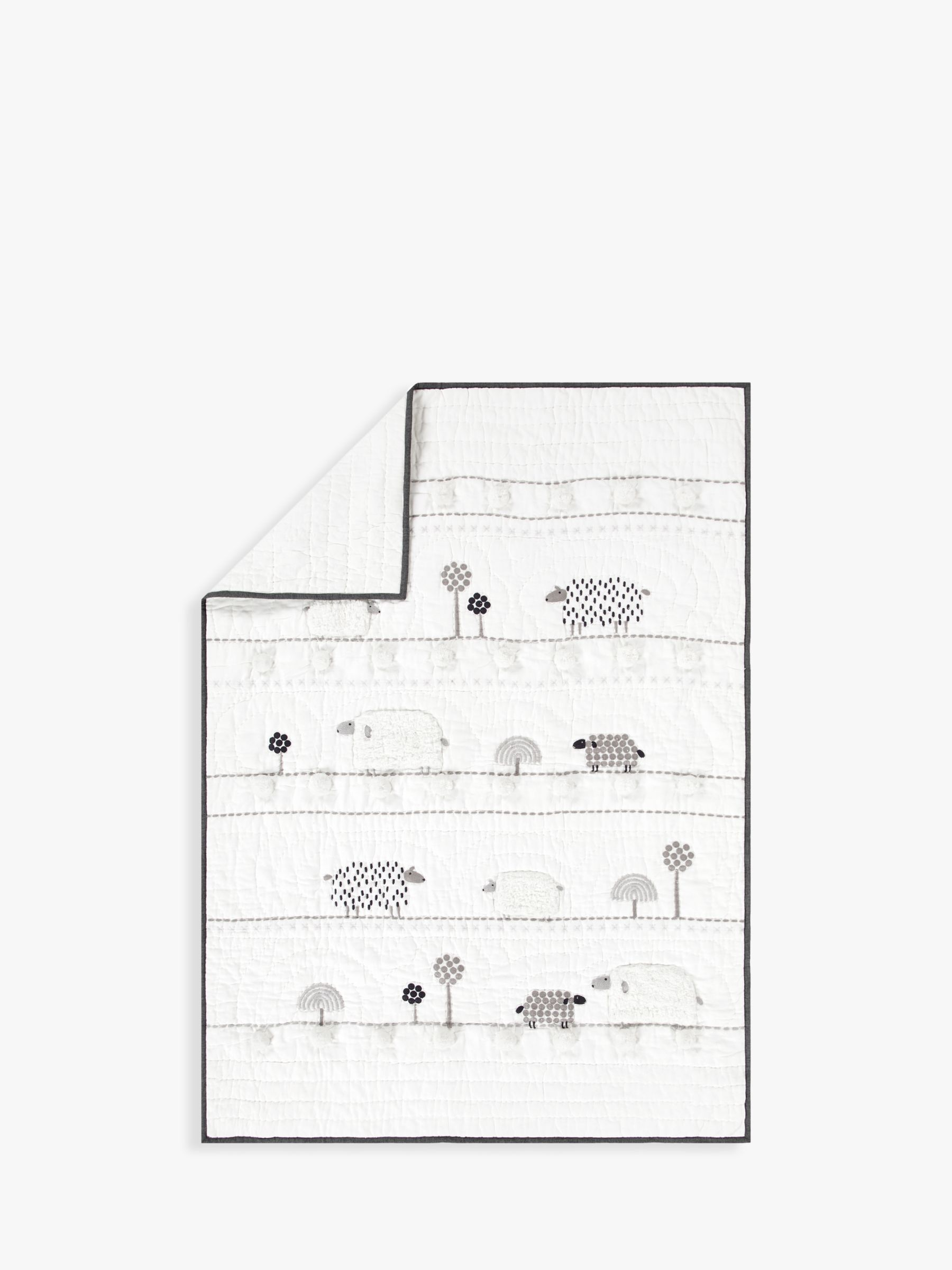 Pottery Barn Kids Shelby Sheep Toddler Bed Quilt, 127 x 91cm, Ivory