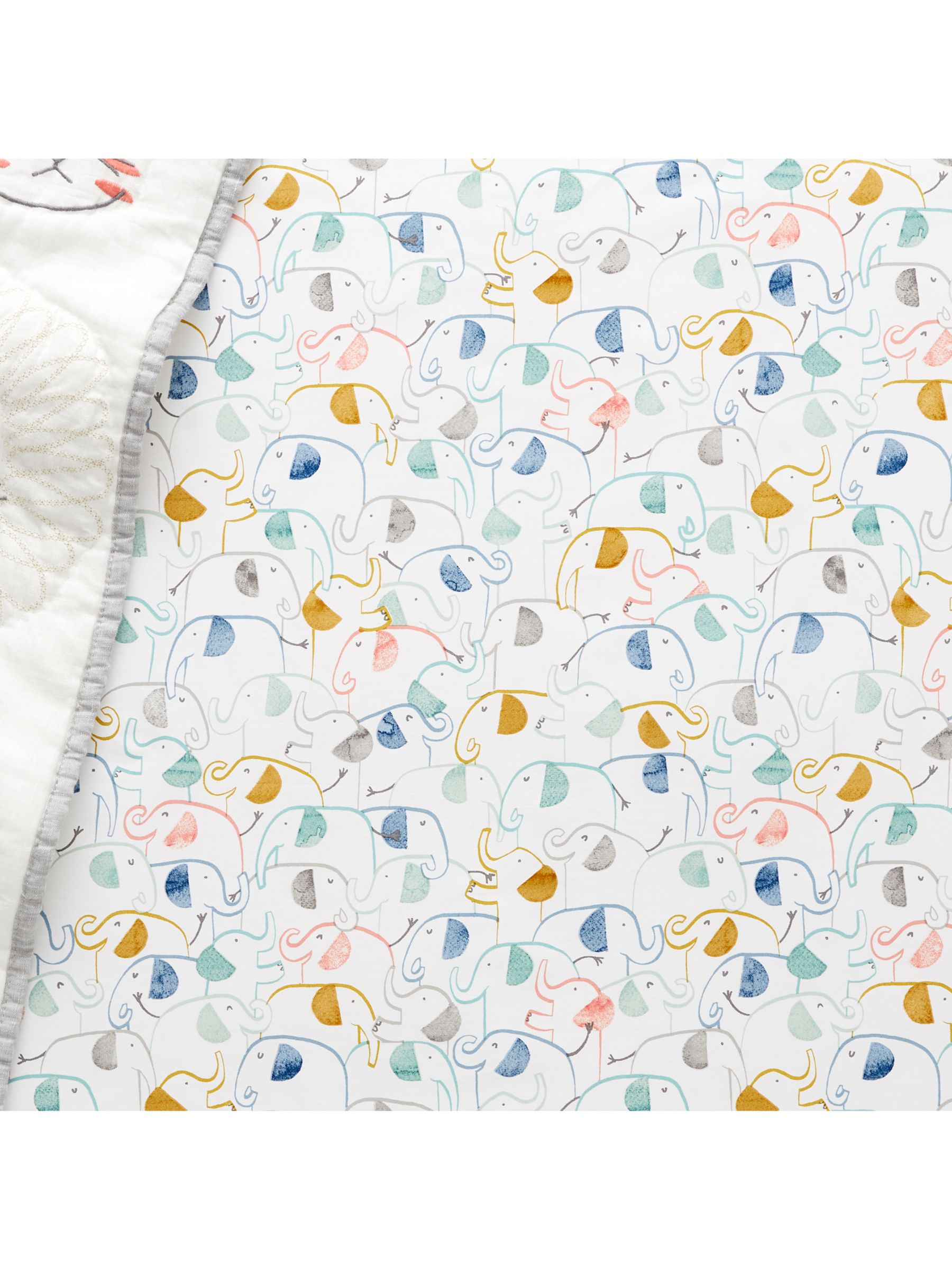 Pottery Barn Kids Organic Emery Elephant Print Fitted Cot Sheet, 70 x 132cm, Multi