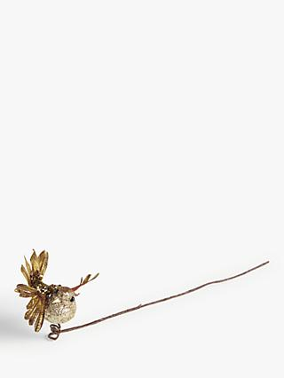 John Lewis & Partners Sanctuary Glitter Bird Pick, Gold