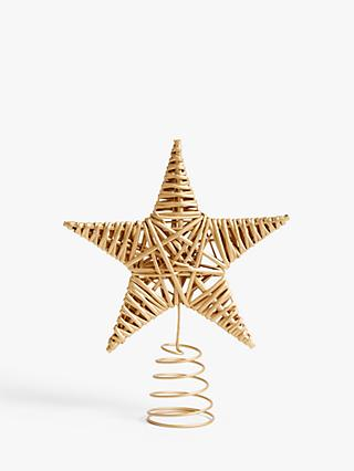 John Lewis & Partners Garden Retreat Willow Star Tree Topper, Gold