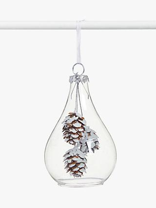 John Lewis & Partners Snowscape Pinecone Cloche Tree Decoration, White