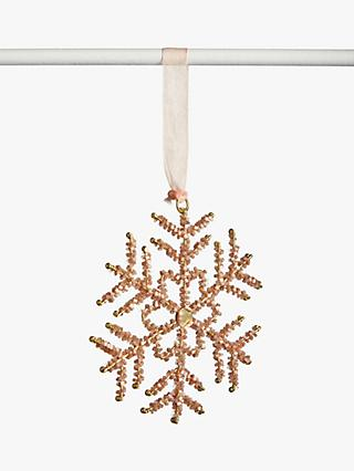 John Lewis & Partners Sanctuary Beaded Snowflake Tree Decoration, Peach / Gold