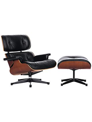 Vitra Eames Classic Leather Lounge Chair and Ottoman, Black/Palisander