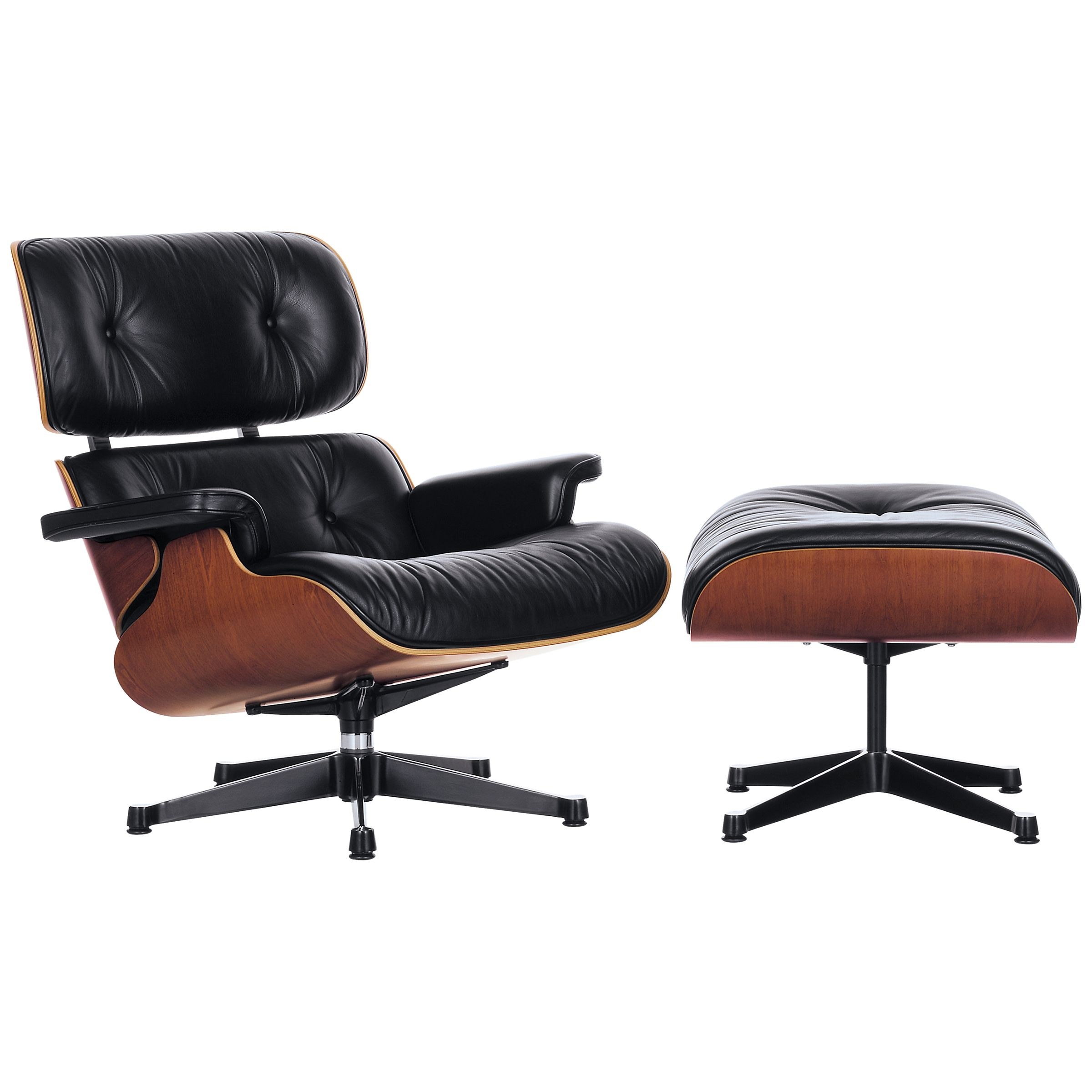 Vitra Vitra Eames Large Leather Lounge Chair and Ottoman, Black/Palisander