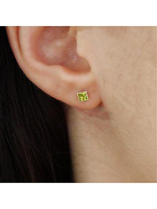 08ad112a9 E.W Adams 9ct Gold Princess Cut Stone Square Stud Earrings