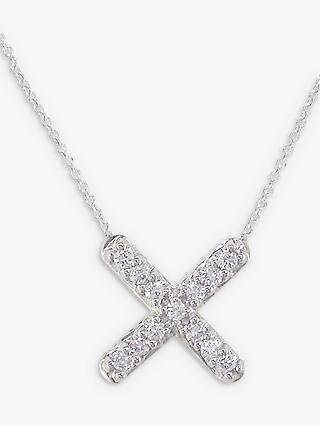 London Road 9ct White Gold Portobello Geo Diamond Kiss Pendant Necklace