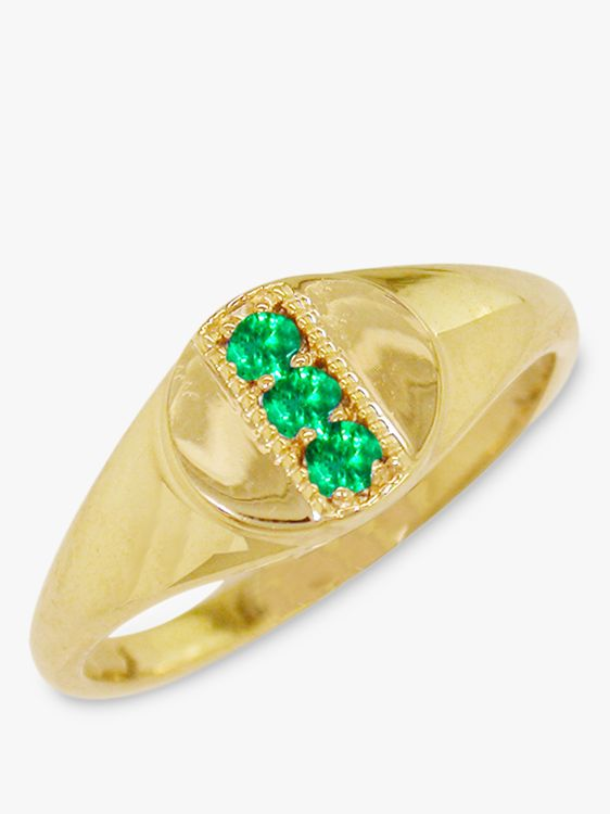 London Road London Road 9ct Gold Emerald Signet Ring