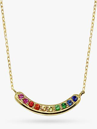 London Road 9ct Yellow Gold Bloomsbury Rainbow Pendant Necklace