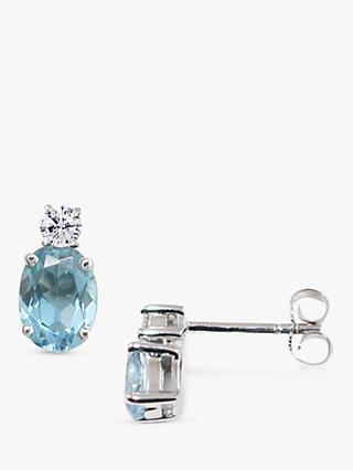 d3498a3ac E.W Adams 9ct White Gold Diamond and Aquamarine Oval Stud Earrings
