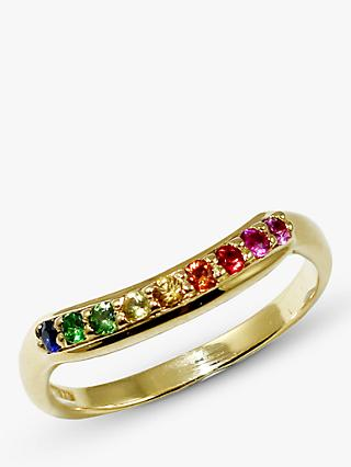 London Road 9ct Gold Sapphire Bloomsbury Rainbow Ring, N