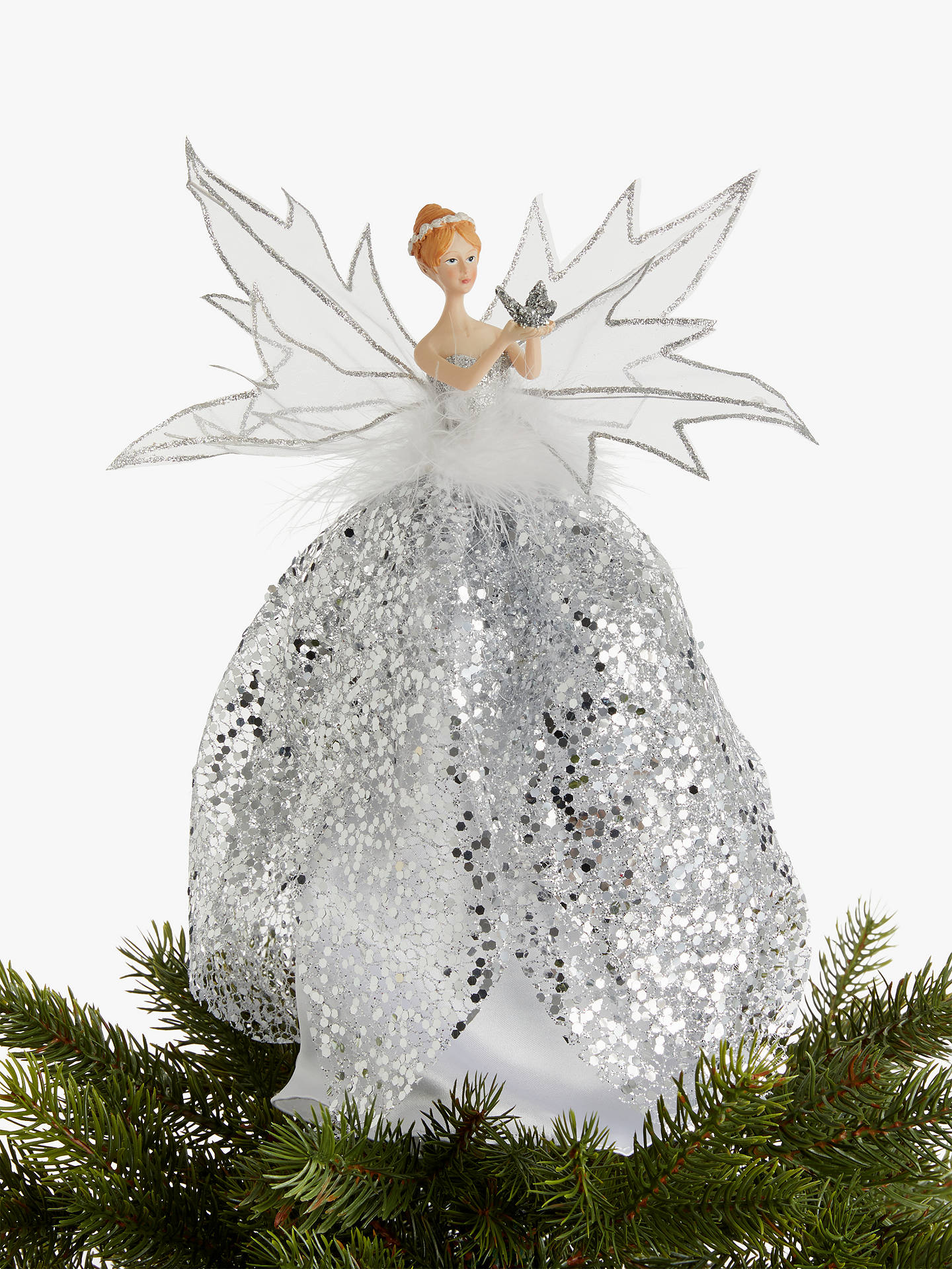 Christmas Tree Topper.John Lewis Partners Snowscape Fairy Tree Topper Silver