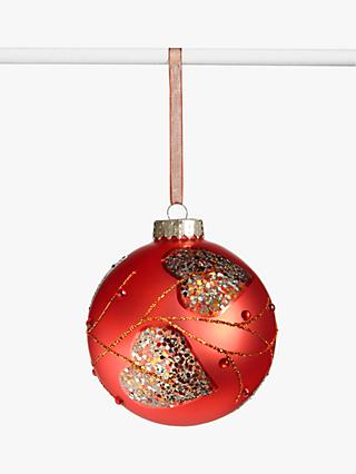 John Lewis & Partners Campfire Glitter Leaves Bauble, Red