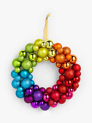 Buy John Lewis & Partners ABC Rainbow Bauble Wreath, Multi Online at johnlewis.com