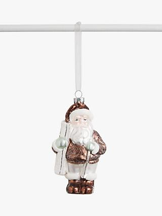 John Lewis & Partners Snowscape Skiing Santa Bauble, Multi
