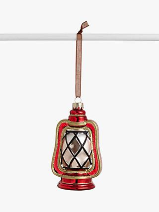 John Lewis & Partners Campfire Glass Lantern Bauble, Red