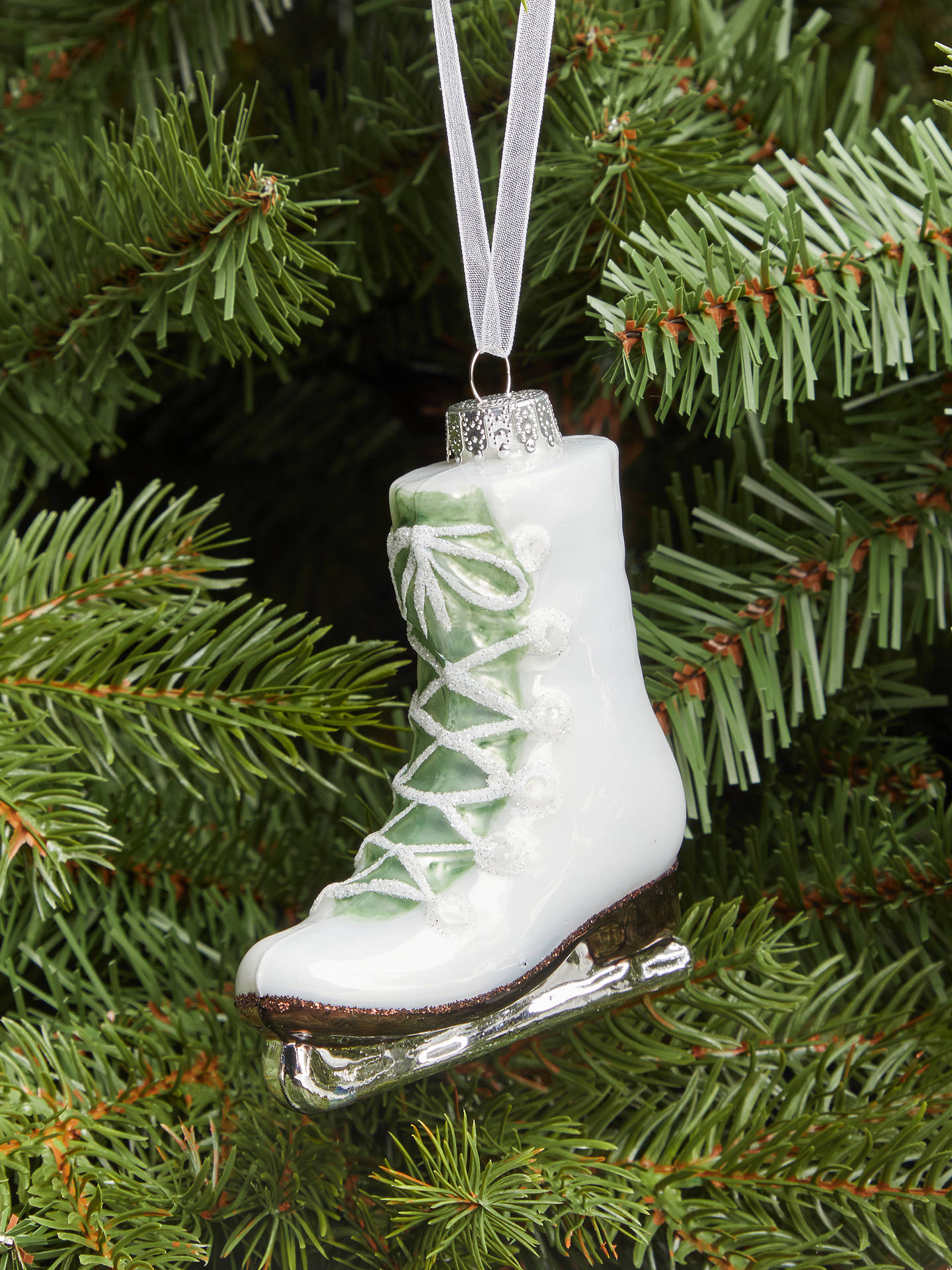 Buy John Lewis & Partners Snowscape Ice Skate Bauble, White Online at johnlewis.com