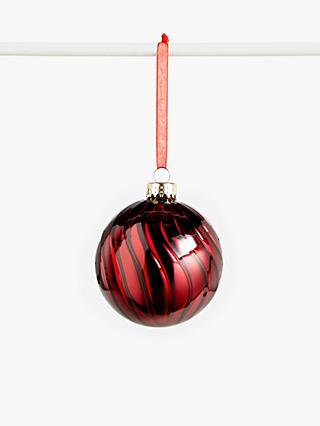 John Lewis & Partners Campfire Glass Swirl Bauble, Red