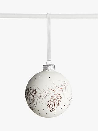 John Lewis & Partners Snowscape Painted Pinecone Bauble, White