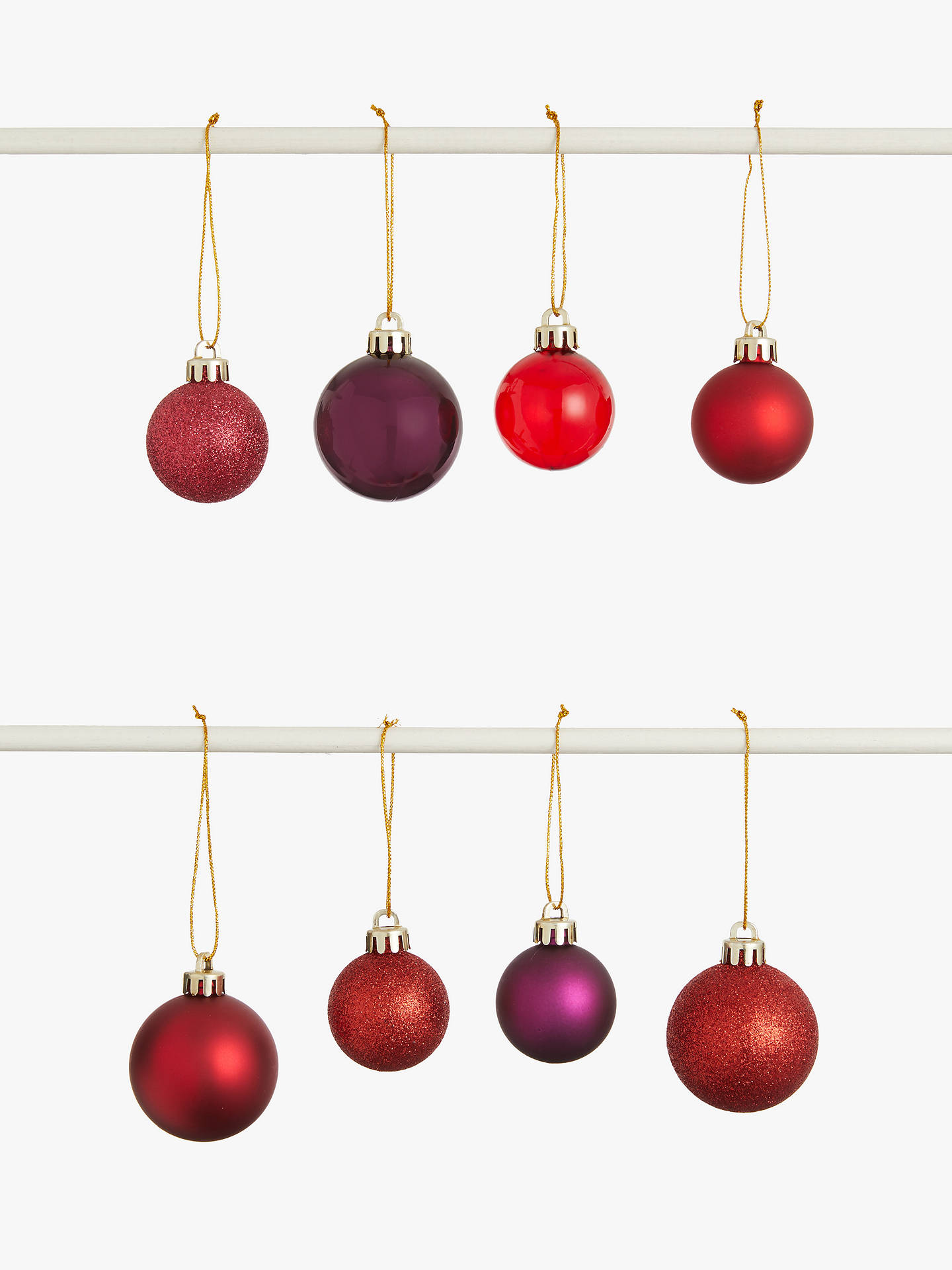 Buy John Lewis & Partners Traditions Shatterproof Assorted Baubles, Tub of 100, Red Online at johnlewis.com