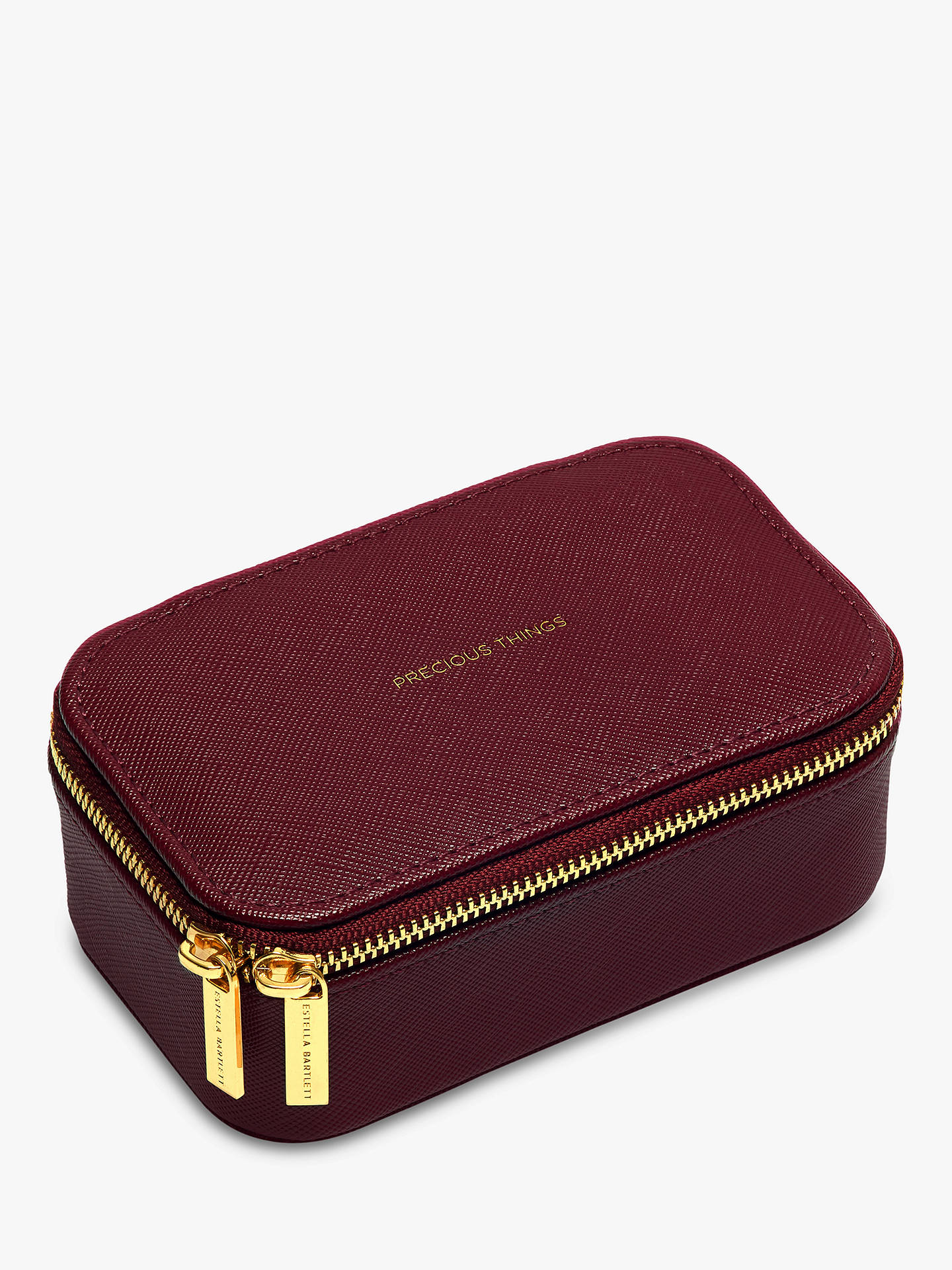 Buy Estella Bartlett Precious Things Mini Zipped Jewellery Box, Burgundy Online at johnlewis.com