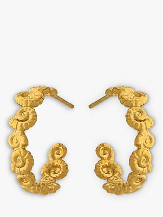 Alex Monroe Natural History Ammonite Wreath Hoop Earrings, Gold