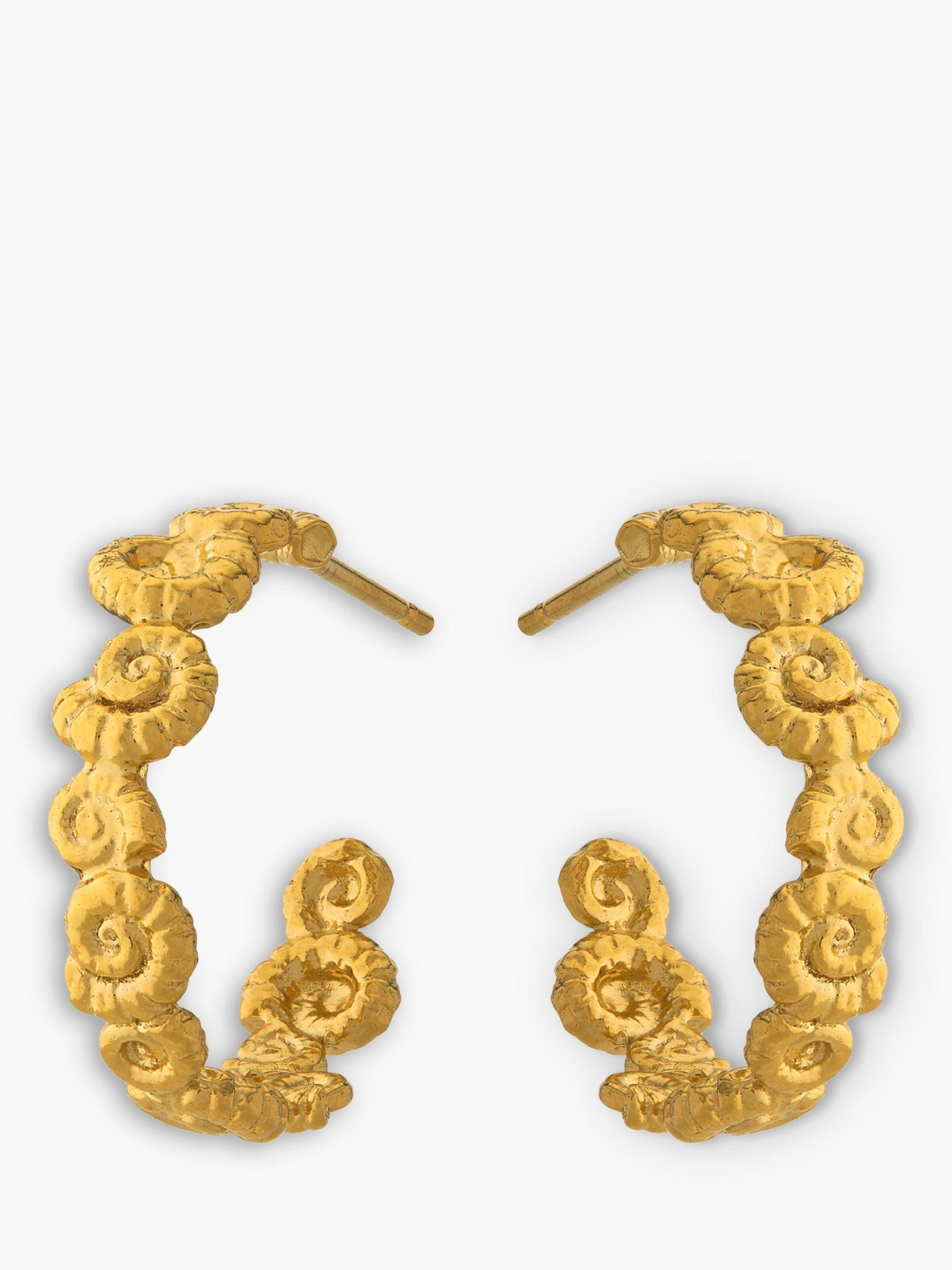 Alex Monroe Alex Monroe Natural History Ammonite Wreath Hoop Earrings, Gold