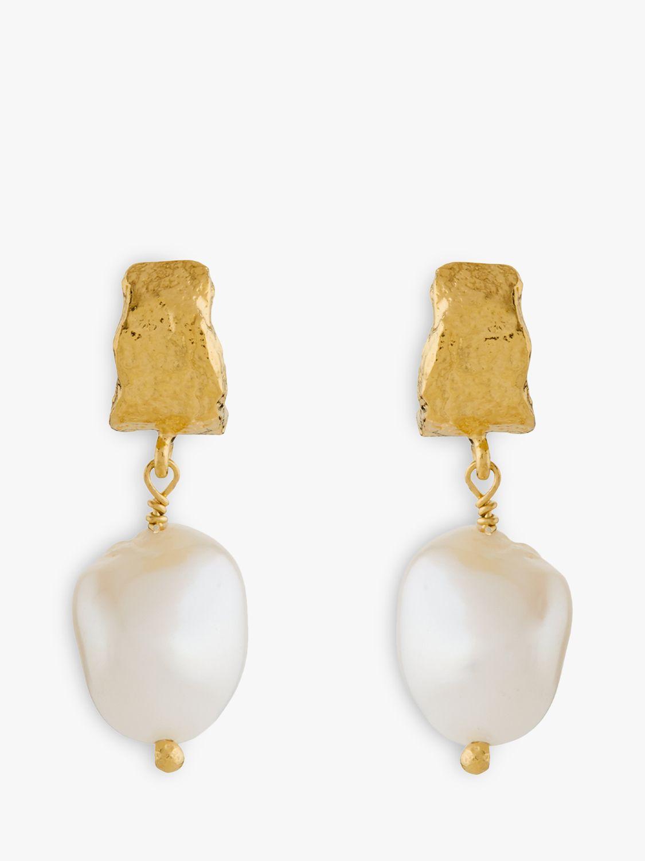 Alex Monroe Alex Monroe Natural History Pearl Drop Earrings, Gold/White
