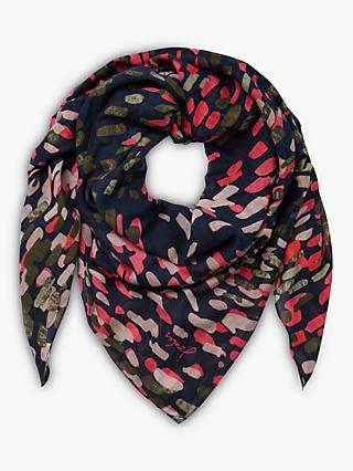 Joules Atmore Square Cotton Scarf, Navy Mix