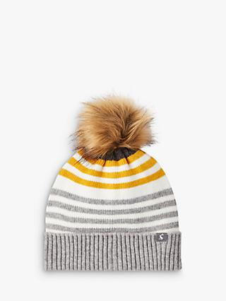 Joules Chill Away Faux Fur Pom Pom Beanie Hat, Grey Marl/Multi