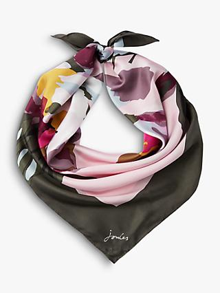 Joules Bloomfield Peony Print Square Silk Scarf, Blush/Multi