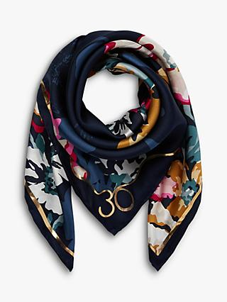 Joules Bloomfield Floral Square Silk Scarf, Navy/Multi