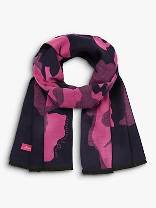 Joules Jacqueline Cambridge Floral Scarf, Navy/Fuchsia