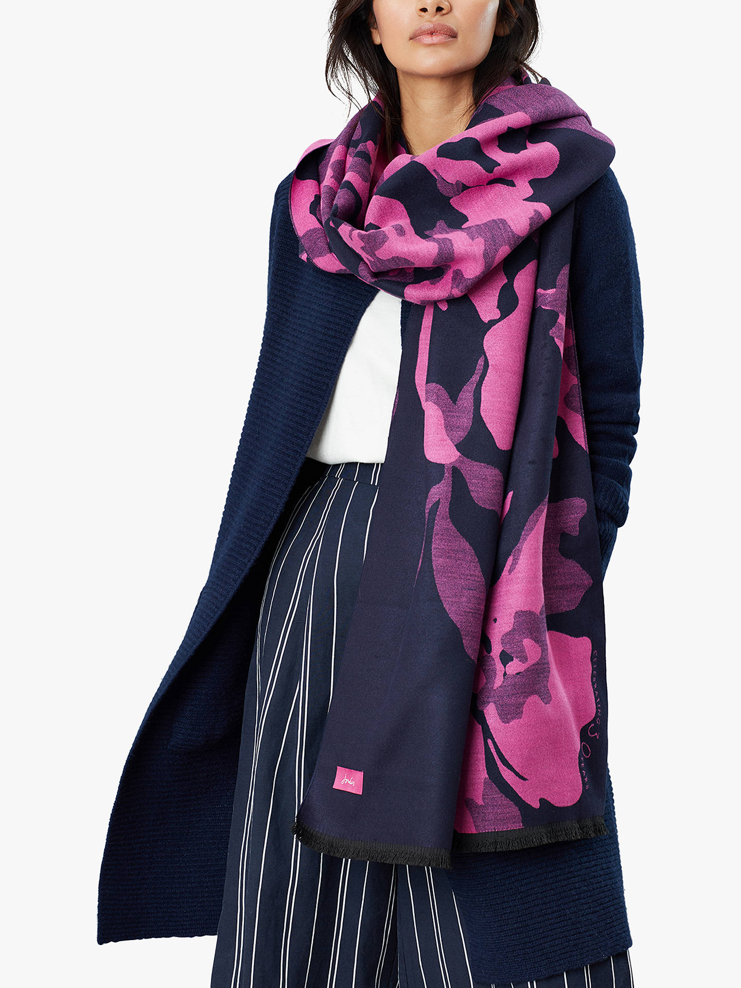 Buy Joules Jacqueline Cambridge Floral Scarf, Navy/Fuchsia Online at johnlewis.com